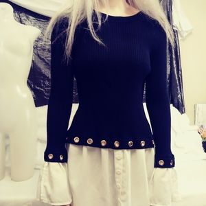 Sweater Blouse Flowing White Trim Gold Ringlets